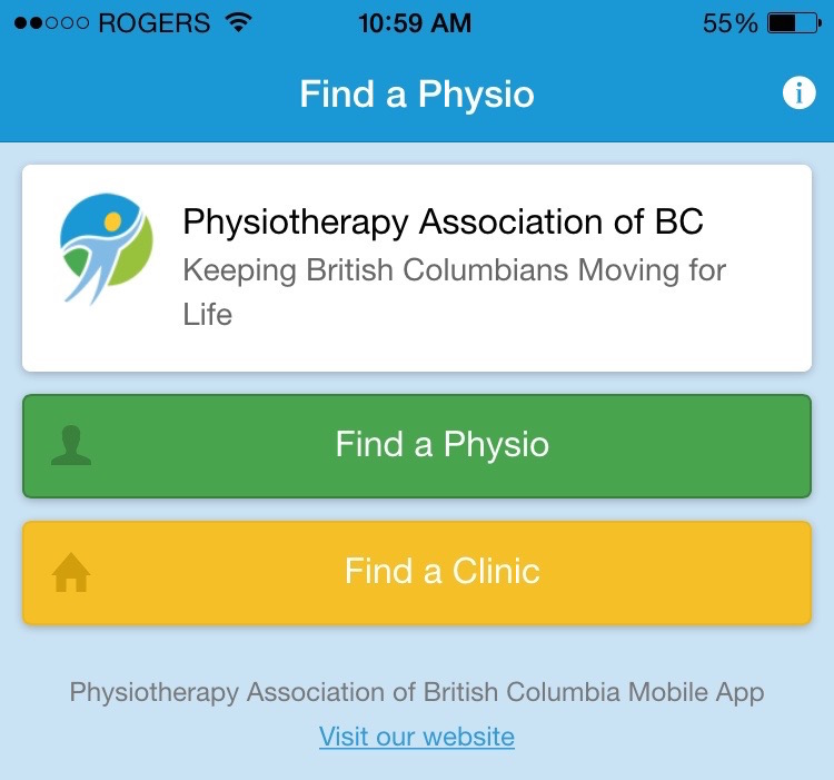 Find a Physio app screenshot